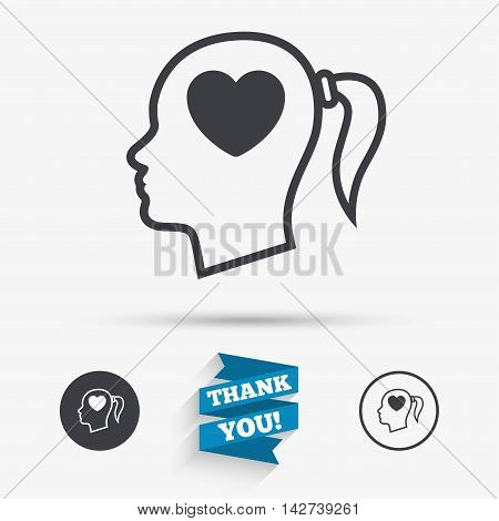 Head with heart sign icon. Female woman human head in love with pigtail symbol. Flat icons. Buttons with icons. Thank you ribbon. Vector