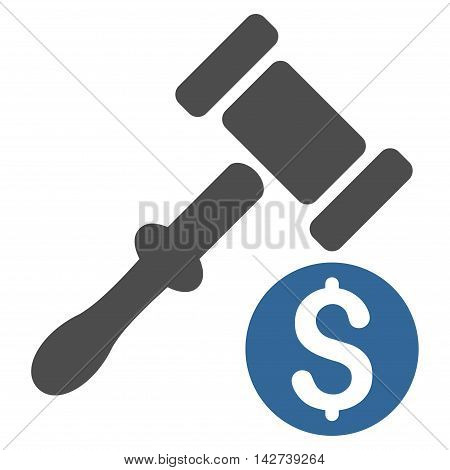 Auction icon. Vector style is bicolor flat iconic symbol with rounded angles, cobalt and gray colors, white background.