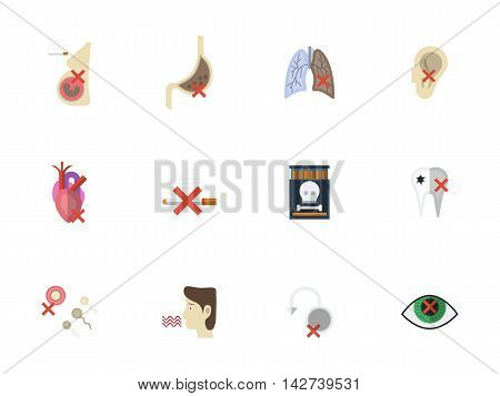 Stop smoking concept. Nicotine addiction and harmful of cigarette. Danger of tobacco for health and life. Set of flat color style vector icons.