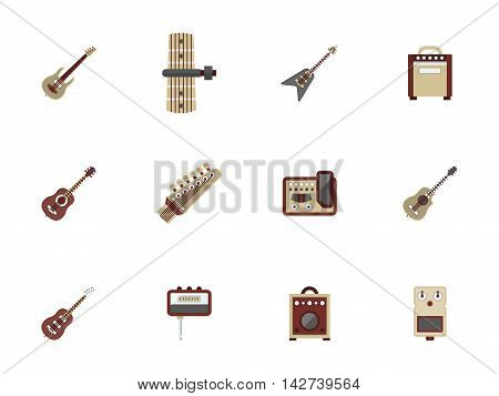 Acoustic and electric guitars, musical tools and equipment. Music record studio, concerts, store of musical instruments. Set of flat color style vector icons.