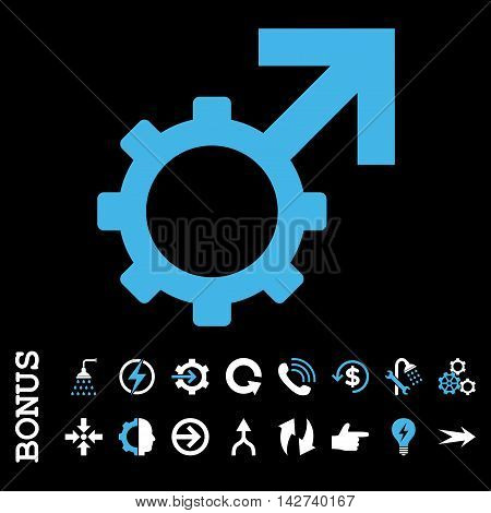 Technological Potence vector bicolor icon. Image style is a flat iconic symbol, blue and white colors, black background.