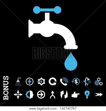 Water Tap vector bicolor icon. Image style is a flat pictogram symbol, blue and white colors, black background.
