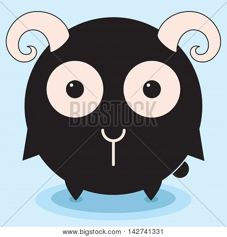 Round funny lamb, ram kitten, minimalistic picture, illustration for children, vector art