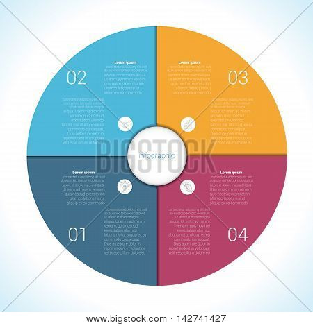 Elements For Template infographic four position steps parts with text area colourful in the form of flower petals. Pie chart diagram data.