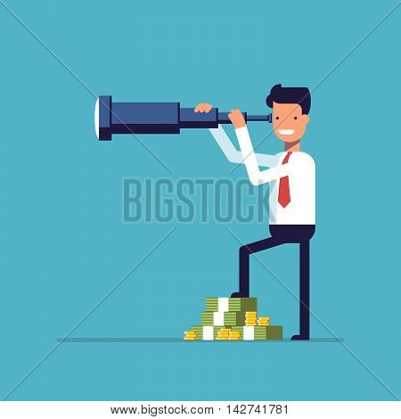 Businessman with lots of money looking through a telescope. The manager seeks investment prospects. Man makes plans for the future. Character in a flat style. Vector image isolated on blue background