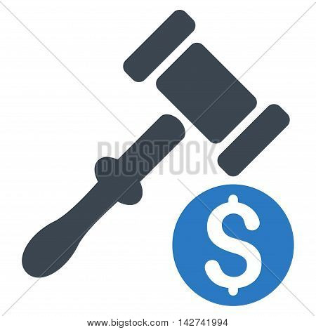 Auction icon. Vector style is bicolor flat iconic symbol with rounded angles, smooth blue colors, white background.