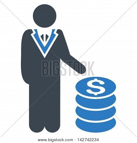 Businessman icon. Vector style is bicolor flat iconic symbol with rounded angles, smooth blue colors, white background.