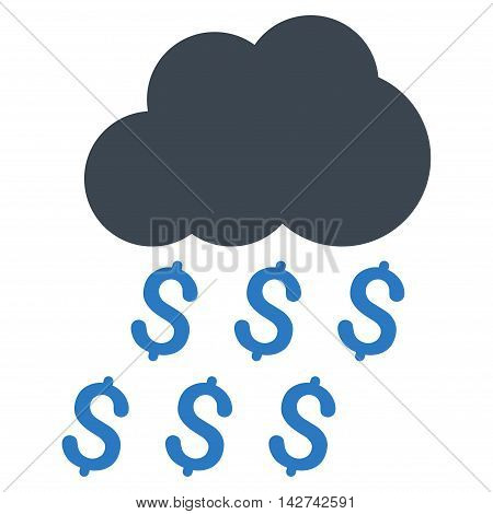 Money Rain icon. Vector style is bicolor flat iconic symbol with rounded angles, smooth blue colors, white background.