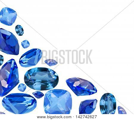 corner from blue sapphire gems isolated on white background