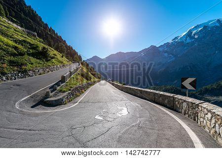 Sunset Above Mountains Alps Passo Stelvio
