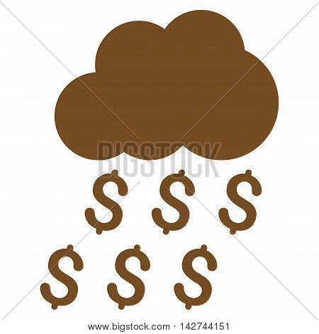 Money Rain icon. Vector style is flat iconic symbol with rounded angles, brown color, white background.