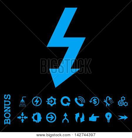 High Voltage vector icon. Image style is a flat pictogram symbol, blue color, black background.