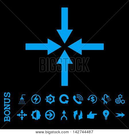 Impact Arrows vector icon. Image style is a flat iconic symbol, blue color, black background.