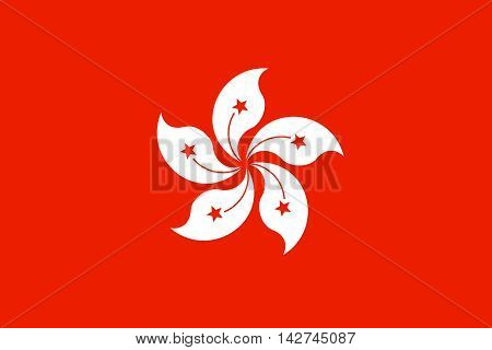 Flag of Hong Kong in correct size proportions and colors. Accurate dimensions. The Hong Kong is special administrative region of the People's Republic of China.