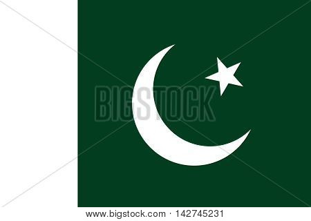 Flag of Pakistan in correct size proportions and colors. Accurate dimensions. Pakistani national flag.