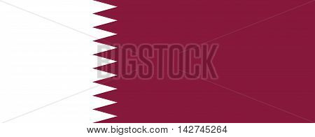 Flag of Qatar in correct size proportions and colors. Accurate dimensions. Qatari national flag.