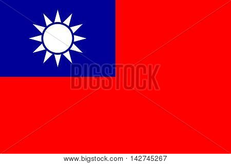 Flag of the Republic of China Taiwan in correct size proportions and colors. Accurate dimensions. The national flag of Taiwan.