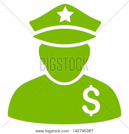 Financial Policeman icon. Vector style is flat iconic symbol with rounded angles, eco green color, white background.