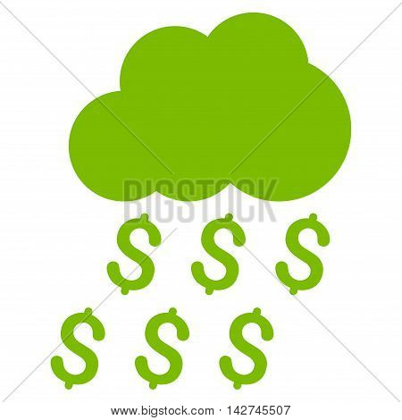 Money Rain icon. Vector style is flat iconic symbol with rounded angles, eco green color, white background.