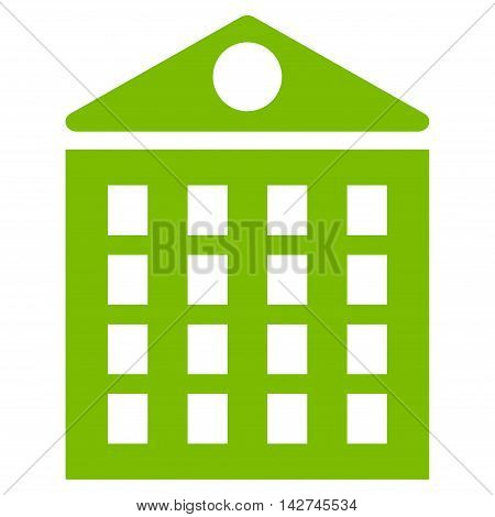 Multi-Storey House icon. Vector style is flat iconic symbol with rounded angles, eco green color, white background.