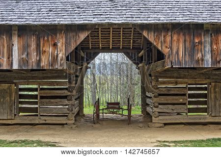 Double- Cantilever Barn at the Tipton Place in Cades Cove at the Smoky Mountain National Park