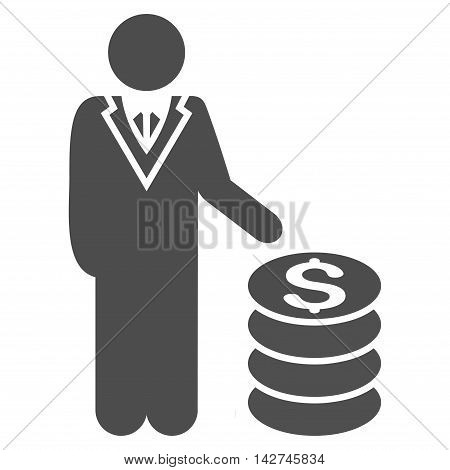 Businessman icon. Vector style is flat iconic symbol with rounded angles, gray color, white background.