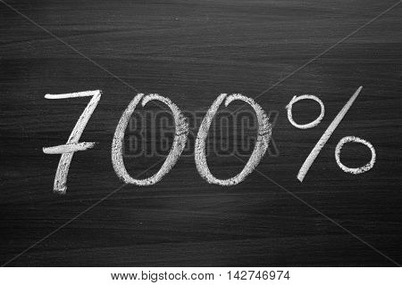 700-percent title written with a chalk on the blackboard