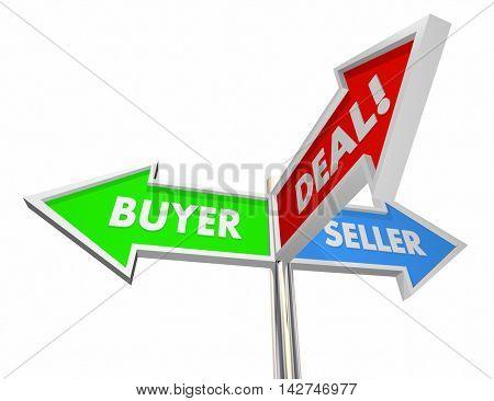 Buyer Seller Negotiate Deal Sold Customer Signs 3d Illustration