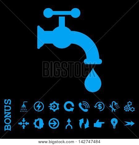Water Tap vector icon. Image style is a flat pictogram symbol, blue color, black background.