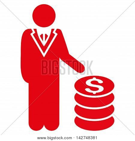 Businessman icon. Vector style is flat iconic symbol with rounded angles, red color, white background.
