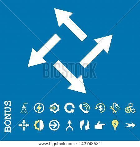 Centrifugal Arrows vector bicolor icon. Image style is a flat pictogram symbol, yellow and white colors, blue background.