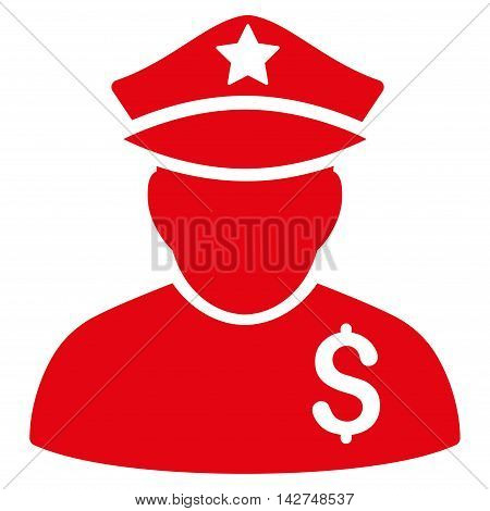 Financial Policeman icon. Vector style is flat iconic symbol with rounded angles, red color, white background.