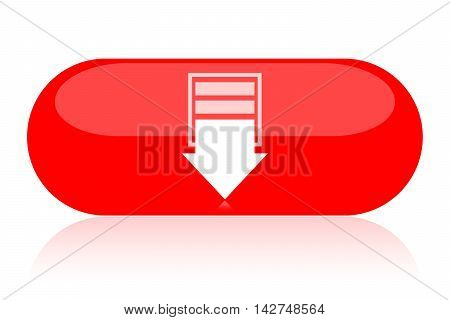 Downward arrow on oval button isolated on white background button