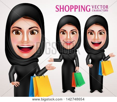 Beautiful muslim woman vector character set holding colorful shopping bags enjoy shopping wearing abaya or black dress in white background. Vector illustration.
