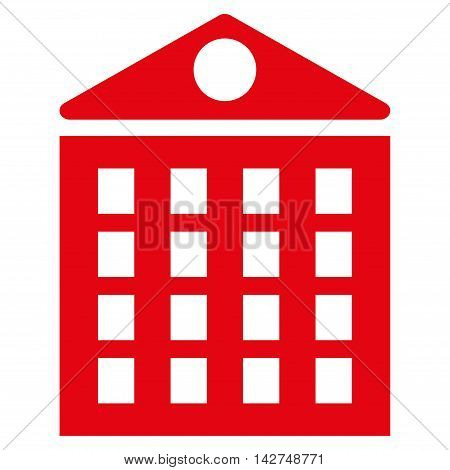 Multi-Storey House icon. Vector style is flat iconic symbol with rounded angles, red color, white background.