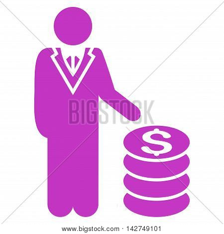 Businessman icon. Vector style is flat iconic symbol with rounded angles, violet color, white background.