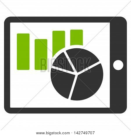 Charts on PDA icon. Glyph style is bicolor flat iconic symbol with rounded angles, eco green and gray colors, white background.