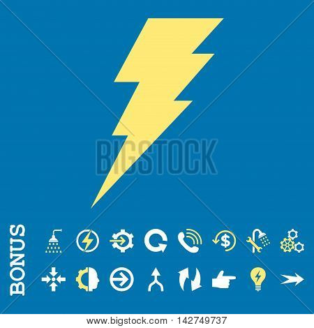 Execute vector bicolor icon. Image style is a flat pictogram symbol, yellow and white colors, blue background.