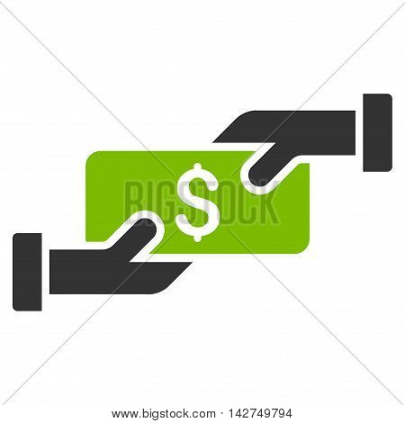 Payment icon. Glyph style is bicolor flat iconic symbol with rounded angles, eco green and gray colors, white background.
