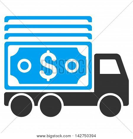 Cash Lorry icon. Vector style is bicolor flat iconic symbol with rounded angles, blue and gray colors, white background.
