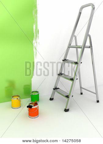 Offene Treppe mit Farbe auf weißem Hintergrund