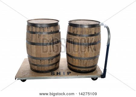 Whiskey Beer Barrels On Cart