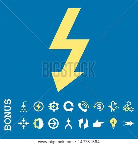 High Voltage vector bicolor icon. Image style is a flat iconic symbol, yellow and white colors, blue background.