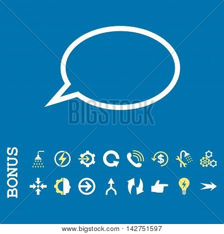 Hint Cloud vector bicolor icon. Image style is a flat pictogram symbol, yellow and white colors, blue background.