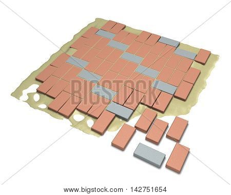 3D rendering process paving laying on a white background