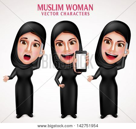 Muslim woman vector character set holding mobile phone and calling with friendly beautiful smile wearing hijab and islamic clothing standing in white background. Vector illustration.