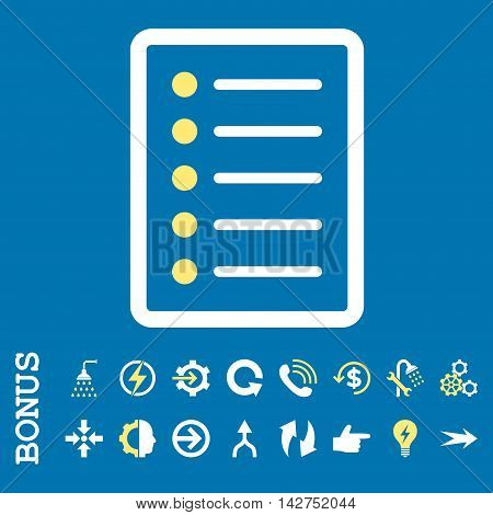 List Page vector bicolor icon. Image style is a flat pictogram symbol, yellow and white colors, blue background.