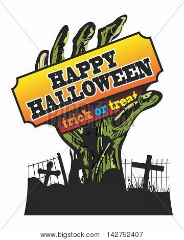 Vector Zombie Hand Rising Out of Ground Illustration, celebrate for Happy Halloween