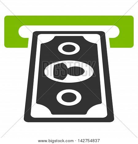 Cashpoint Terminal icon. Vector style is bicolor flat iconic symbol with rounded angles, eco green and gray colors, white background.