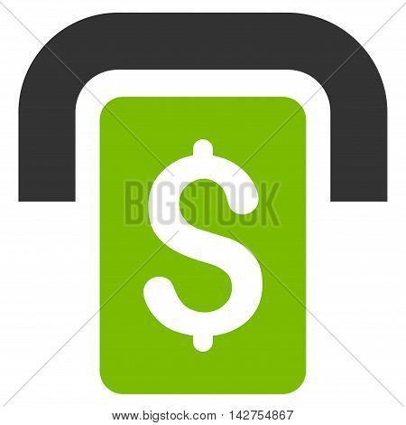 Cashpoint icon. Vector style is bicolor flat iconic symbol with rounded angles, eco green and gray colors, white background.